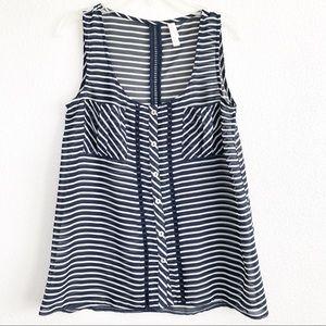Xhilaration Striped Navy Blue & White Sheer Top XS